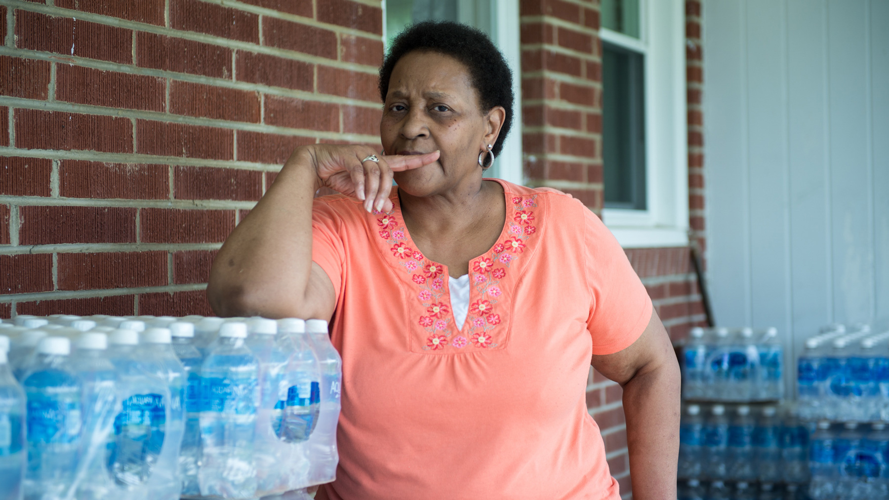Linda Jamison lives in Semora, N.C., near Duke Energy's Roxboro coal-fired plant, one of the largest power plants in the country. She has been using bottled water since contaminants such as Chromium-6 were found in her well. (Jasmine Spearing-Bowen/News21)