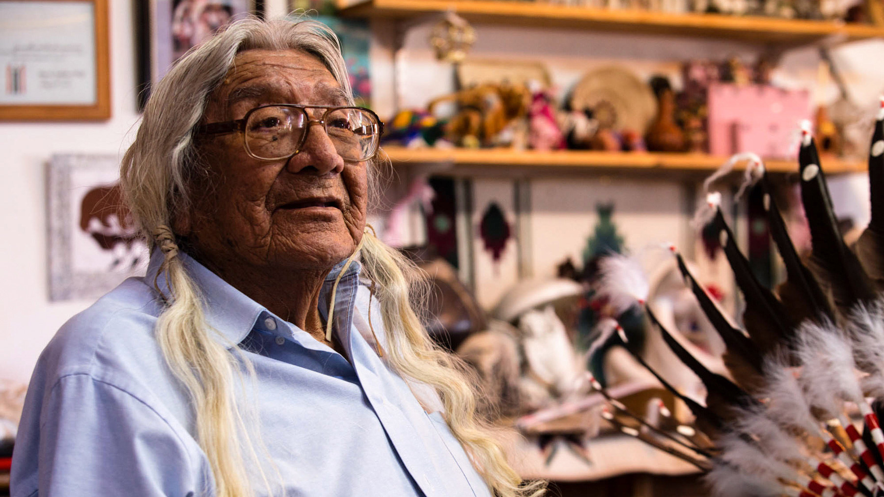 Mark Soldier Wolf of the Arapaho Nation is the father of 10 children and a veteran of the Korean War. He said he was kicked off his land to make way for a uranium mill. (Lauren Kaljur/News21)