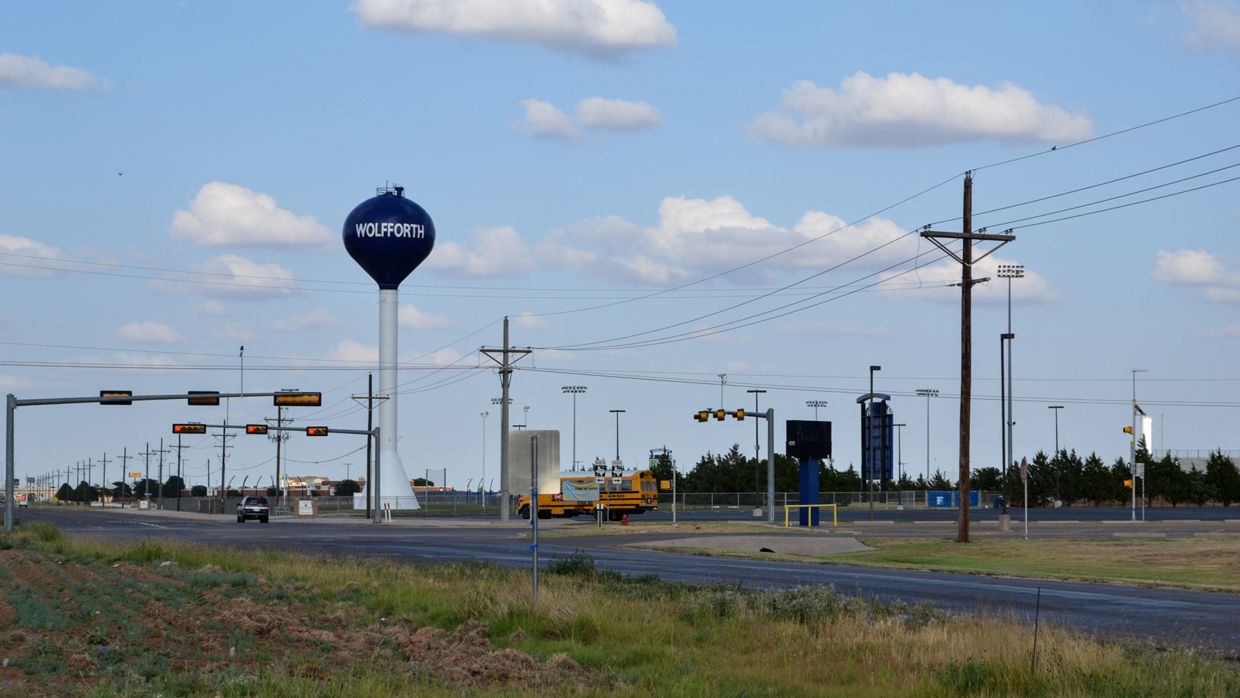 The water tower is one of the tallest structures in Wolfforth, Texas, a suburb of Lubbock. The city of 4,400 is growing, which helps fund projects like its water system upgrade. (Elizabeth Sims/News21)