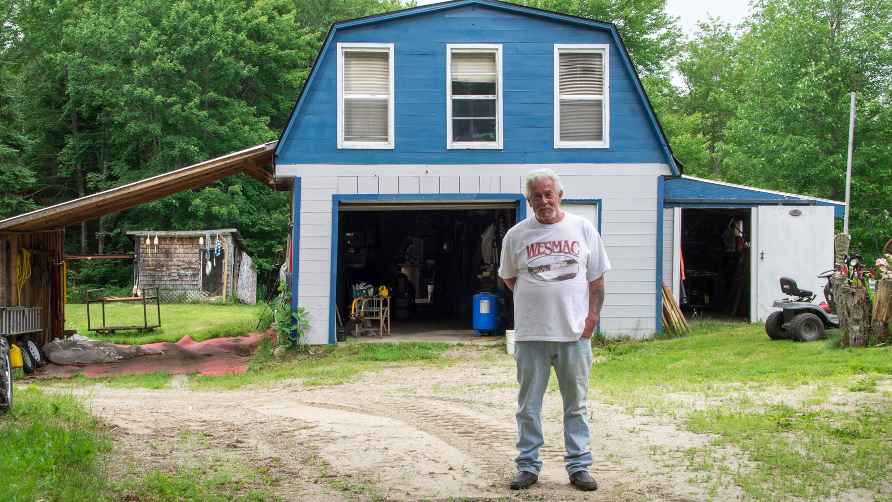Lifelong Mainer Vaughn Sinclair and his wife live in Surry, Maine, on land they inherited from family. After five years, they found out their well water had dangerous levels of arsenic and could not be used. (Jenna Miller/ News21)